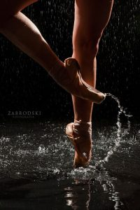 pointe shoes and water
