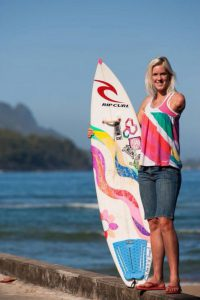 Bethany Hamilton with her surf board