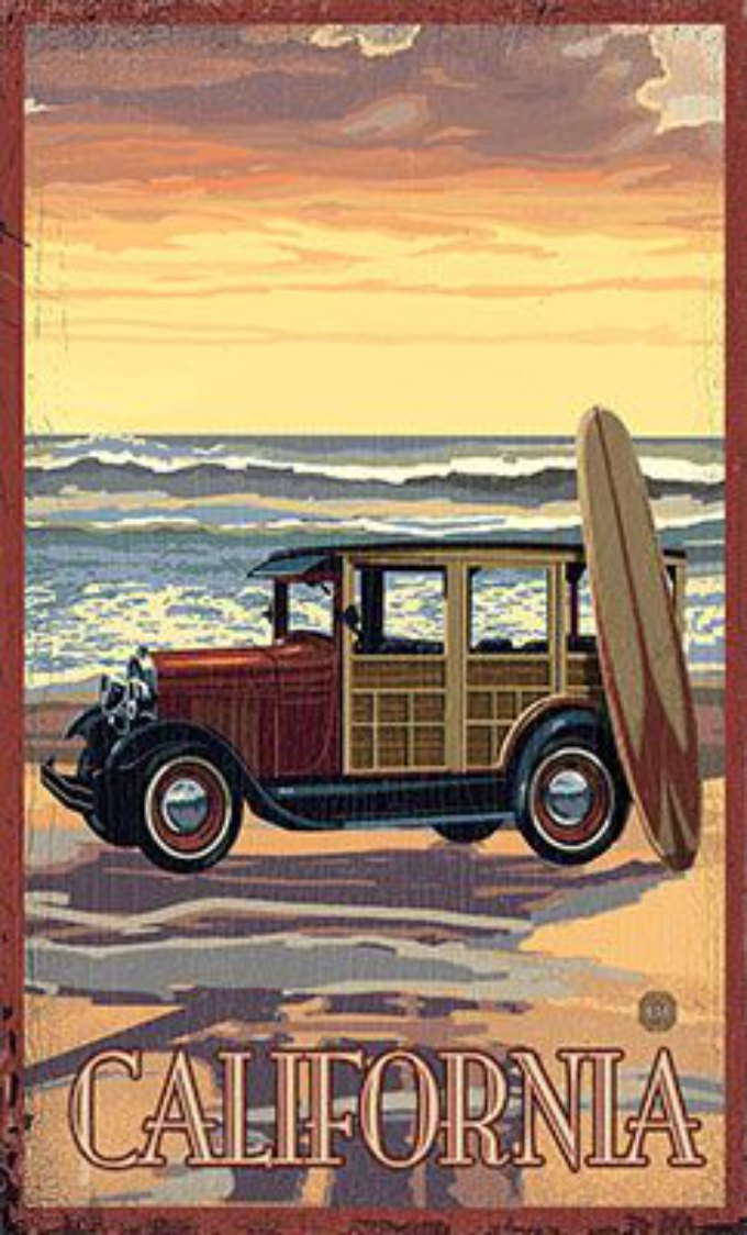 history of surfing California old beach wagon