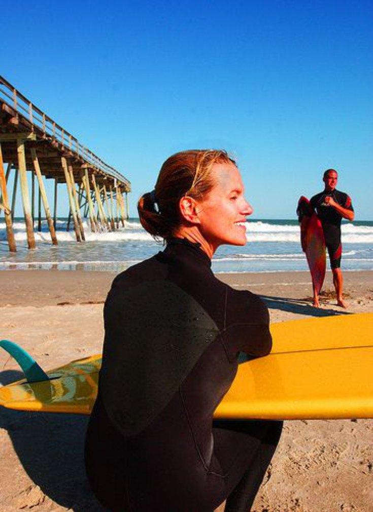 surfing at Wrightsville Beach NC