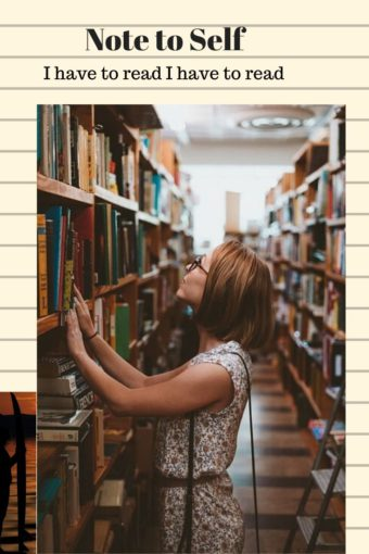girl in lokking up at book shelf