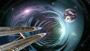 space ship entering worm hole