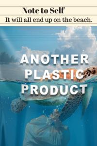 sea turtle dragging plastic
